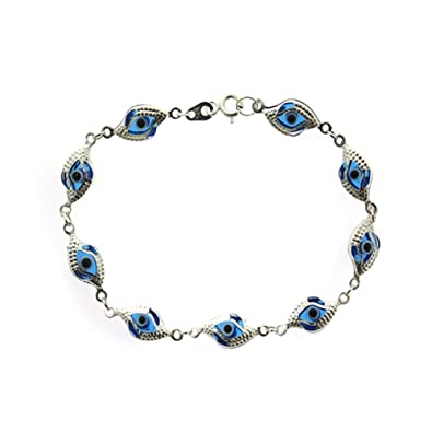 e86147d04 Image Unavailable. Image not available for. Color: Traxnyc .925 Silver 7.25  Inches CZ Evil Eye Bracelet ...