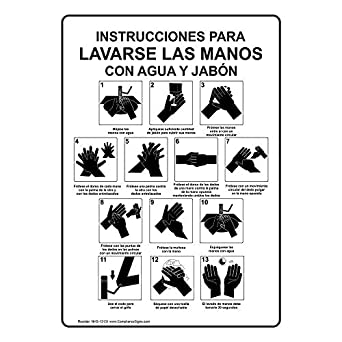 Amazon.com: ComplianceSigns Vertical Plastic Hand Washing Instructions For Soap And Water Spanish Sign, 10 X 7 in. with Spanish Text, White: Industrial & ...