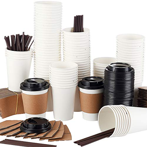 Springpack 110 Sets White hot Travel Lids Sleeves and Straws 100% Biodegradable & Compostable Pla Eco Friendly to go Paper Coffee Cups, 12oz