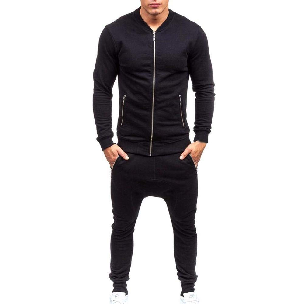 KAOKAOO Men Hoodies+Pants Mens Tracksuit Warm Fleece Sport Hooded Sweatshirt Coat