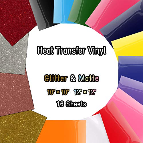 Heat Transfer Vinyl Sheets, Glitter HTV Vinyl Bundle Iron on for T-Shirts, Fabric, Clothing - 12 x 12 - 16 Pcs for Cricut, Silhouette Cameo and Other Cutter Machines