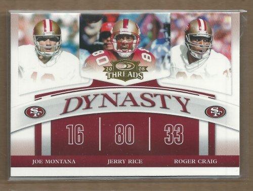 2008 Donruss Threads Dynasty #6 Joe Montana Jerry Rice Roger Craig - Football Card (Joe Montana Football Trading Card)