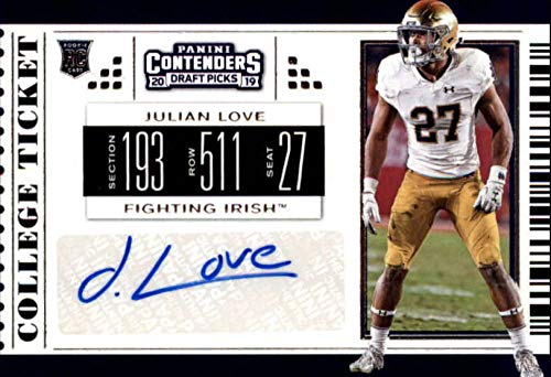 Notre Dame Fighting Irish Tickets - 2019 Panini Contenders Draft Tickets College Ticket #221 Julian Love RC Rookie AUTO Notre Dame Fighting Irish NCAA Football Trading Card