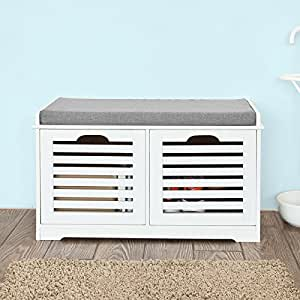 Sobuy White Storage Bench With 2 Drawers Removable Seat Cushion Shoe Cabinet
