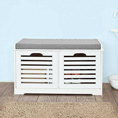 Haotian White Storage Bench with Drawers & Removable Seat Cushion, Shoe Cabinet Shoe Bench (FSR23-K-W)