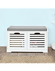 SoBuy White Storage Bench with 2 Drawers & Removable Seat Cushion,Shoe Cabinet Shoe Bench,FSR23-K-W