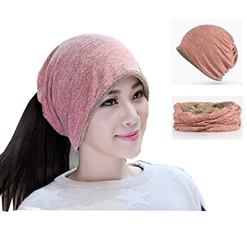 Multifunctional 3 in 1 Classic Plain Baggy Skull Cap Slouchy Beanie Fall/Winter Warm Hat Ear Warm Headband Reversible Neck Gaiter Tube Scarf Cycling Mask Bandana Ski Headgear for Men Women pink brown
