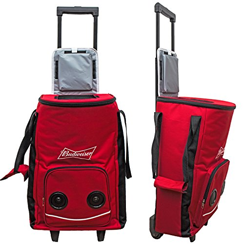 Budweiser Rolling Cooler Bag On Wheels With Speakers