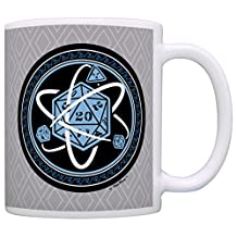 Gamer Mugs D20 Dice Atom Nerdy Mug Critical Hit Role Play Gaming Gift Coffee Mug Tea Cup Grey
