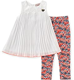 Juicy Couture Little Girls\' Toddler 2 Piece Pant Set-Printed, White, 3T