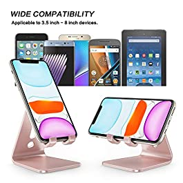Cell Phone Stand, OMOTON C1 Phone Holder – [Upgraded] Desktop Aluminum Phone Cradle Dock Compatible with iPhone 12 Mini…