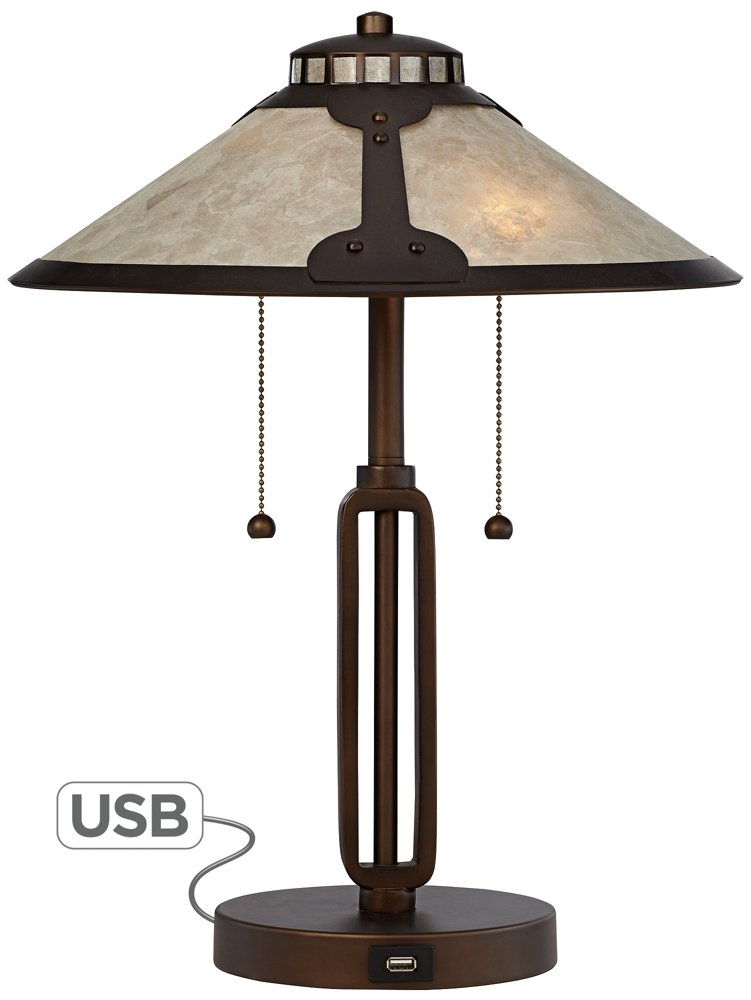 Samuel Mica Shade Desk Lamp with USB Port by Franklin Iron Works