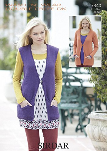 Sirdar Wash 'n' Wear Double Crepe DK Knitting Pattern - 7340 Cardigan and Waistcoat by Sirdar by Sirdar
