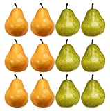 Set of 12 Artificial Decorative Pears - Green Pears - Yellow Pears - Realistic Pears Perfect for Decorative Center Pieces!(12, Green & Yellow)