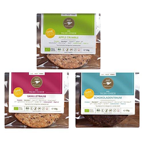 Paleo Cookie Variety Box von eat Performance (3x 50g) Bio, Superfood, Gebäck ohne Zucker und Getreide, glutenfrei, laktosefrei, kohlenhydratarm)