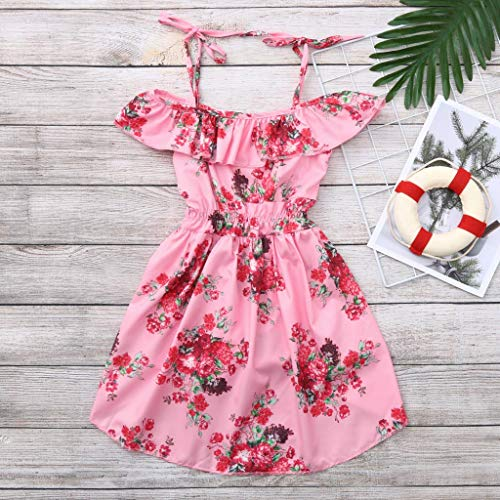 Infant Summer Dresses for Girls,Toddler Baby Girls Off Shoulder Floral Print Ruffles Pantskirt Outfits Sets,Girls' Costumes,Multicolor,2-3T Pink by Dsood (Image #2)