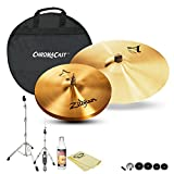 "Zildjian A Hats & Ride Set: 21"" A Sweet Ride (A0079), 14"" New Beat HiHats (A0133) with Felts, Sleeve, Washer, Cymbal Stand, Bag, Cleaner and Polish Cloth"