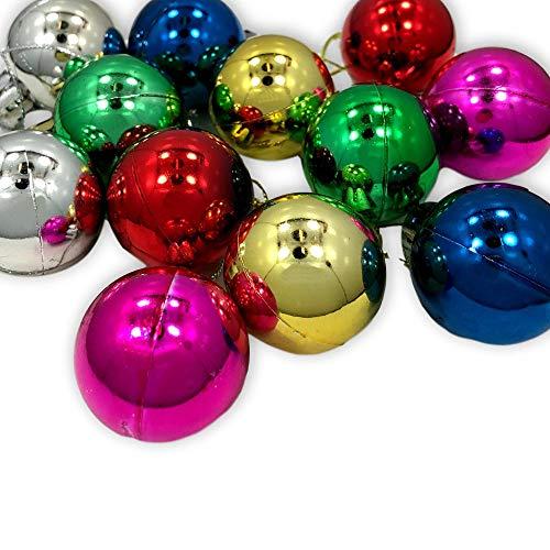 Santa's Studio Mini Ball Holiday Christmas Ornaments - Metallic Finish Miniature Decoration with Loop - Assorted Colors - 12 Piece Set