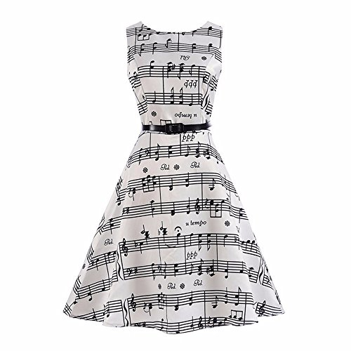 Fineser Girls Musical Notes Sleeveless Tank Dress Princess Party Dress Stretch Maxi Dress With Belt (White, 8T)