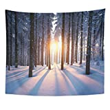 Emvency Tapestry Snow Sunset in The Wood Between Trees Strains Winter Home Decor Wall Hanging for Living Room Bedroom Dorm 50x60 Inches