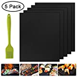 BBQ Grill Mat Set of 5-100% Non-Stick BBQ Grill Mats, Heavy Duty, Reusable, and Easy to Clean - Works on Electric Grill Gas Charcoal BBQ - Extended Warranty - 15.75 x 13-Inch, Black