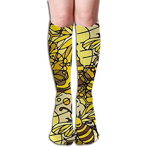 Women High Socks Crowded Bee Printed Compression Socks Classic Unisex Knee High Socks Sports Long Sock