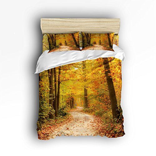 King Size Bedding Set  Falling Maple Tree Leaves Duvet Cover Set Bedspread For Childrens Kids Teens Adults  4 Piece 100   Cotton