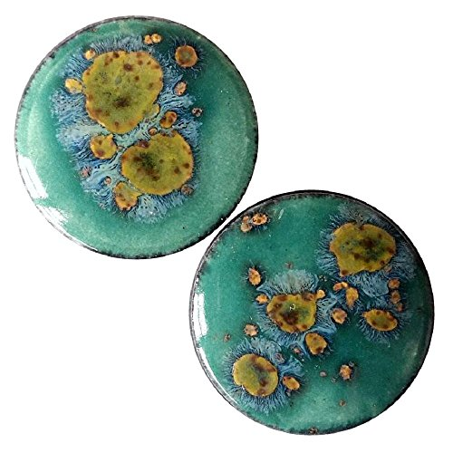 Jade Ear Plugs - Pair - Mystic Jade Ceramic Glass Ear Plugs with Essential Oils Diffuser for Scented Gauges (09mm l 00g)