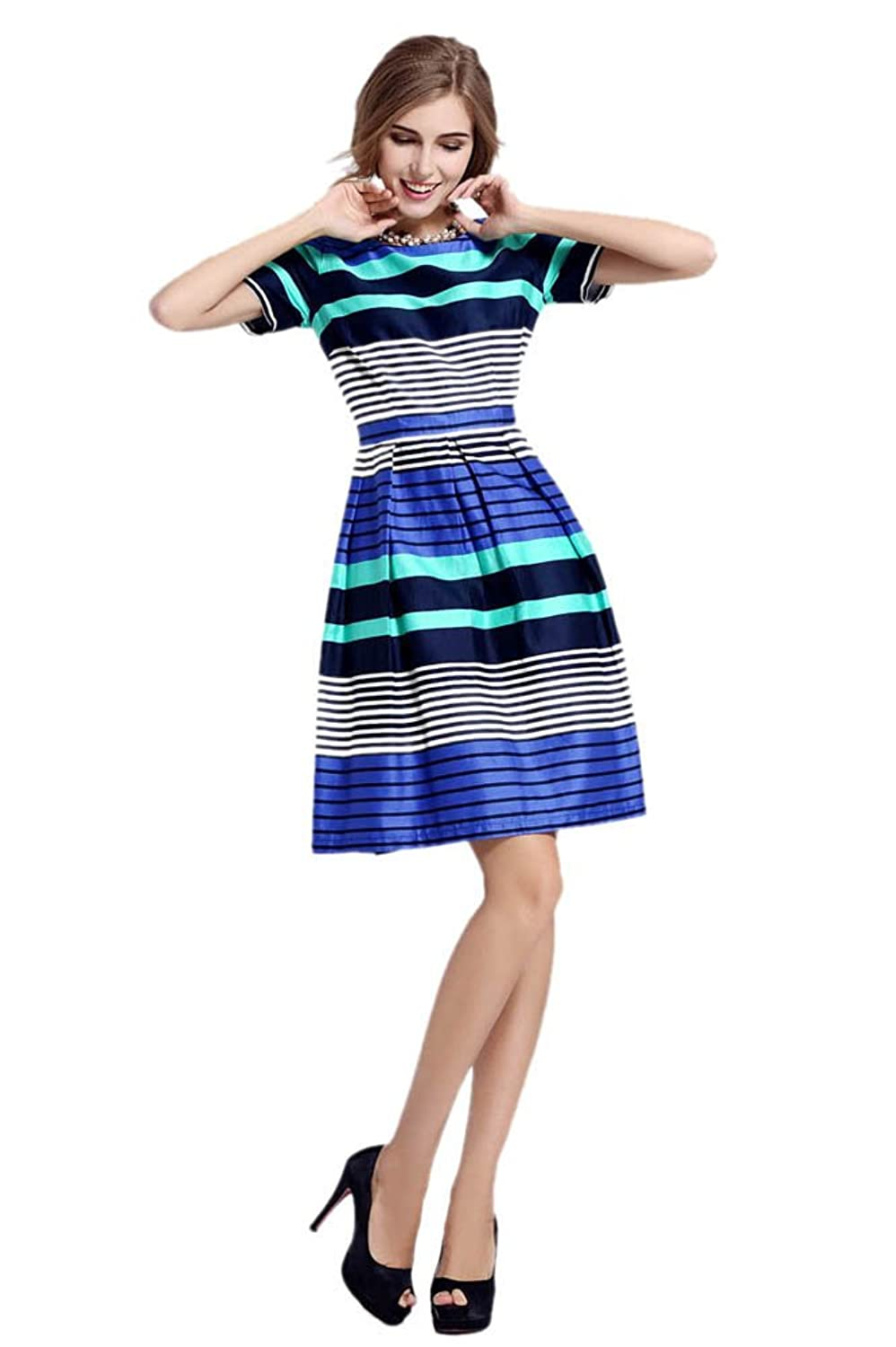 Purpura Erizo Womens Stylish Multicoloured Stripes Summer Slim Cool Dress