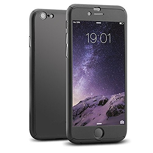 Asstar 360 Full Body Protection [Ultra Slim] Case for iPhone 6/6S (4.7 inch). Bundle with Tempered Glass Screen Protector (Black)