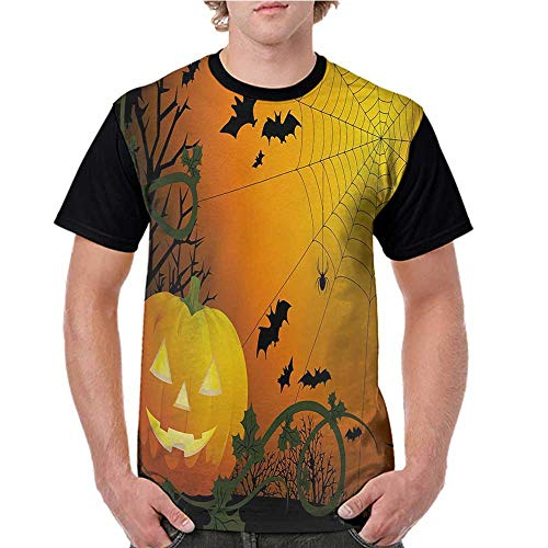 Mens Raglan Baseball T-Shirt,Spider Web,Halloween Themed Composition with Pumpkin Leaves Trees Web and Bats,Orange Dark Green Black S-XXL Printed Crew Neck Casual Tee Tops -