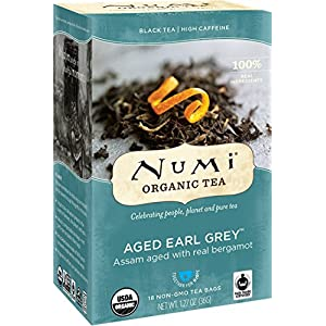 Numi Organic Tea Aged Earl Grey, 18 Count Box of Tea Bags (Pack of 3) Black Tea (Packaging May Vary) 119
