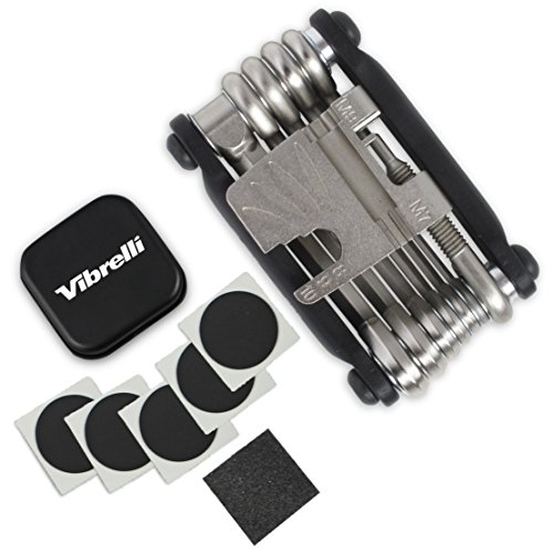 Vibrelli Bike Multi Tool V19 - With Glueless Puncture Repair Kit & Carry Case - Bicycle Multitool by Vibrelli