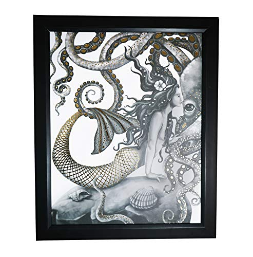Mermaid and Octopus Kissing - Gold Foil Wall Art Decor Posters Prints - Gifts for Mom Her Women Sister Wife Daughter - Mothers Day Birthday Anniversary Hallmark Keepsake Presents - 8x10 Inches