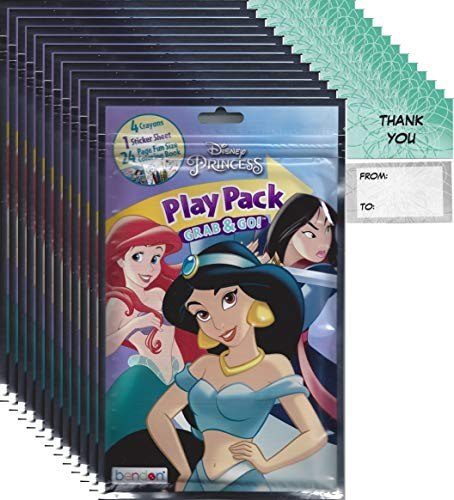 Disney Princess Ariel, Jasmine, Mulan Grab and Go Play Packs Bundle (12 Packs) Party Favors and 12 Thank You Cards