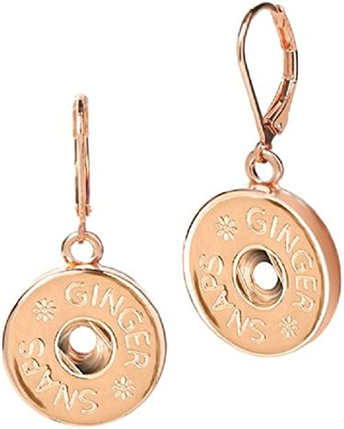 ROSE GOLD Dangle Earrings Snap 18-20MM Interchangeable Fits Ginger Snaps