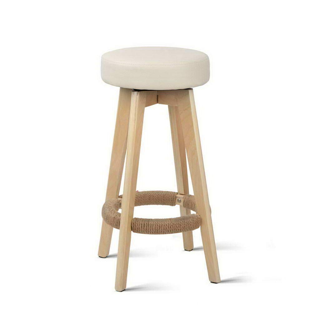 078A-CR 2 x Artiss Bar Stool Wooden Round Swivel Counter Bar Chair Leather Upholstery Kitchen Dining Stool, Beige
