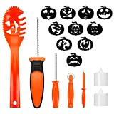 Pumpkin Carving Kit for Kids – 5 Easy Halloween Pumpkin Carving Tools set for children – 2 LED Candles & 10 Carving Face Stencils Review