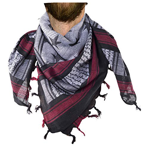 Mato & Hash Military Shemagh Tactical 100% Cotton Scarf Head Wrap -  Black/White/Red CA2100STARS