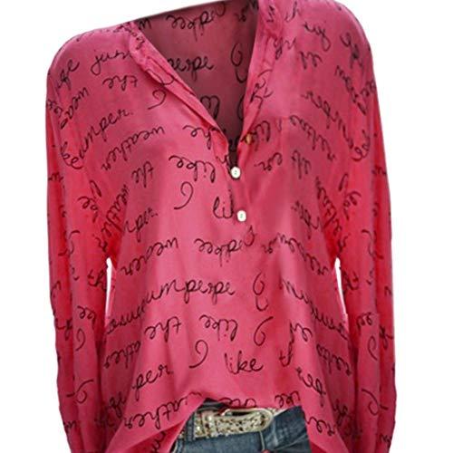 V Pull Chemis Longues Basique Size Rouge Impression Haut Col Femmes Tops Manches De Button Lettre Plus YBYxqOErw