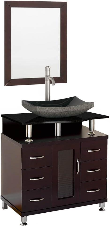 Amazon Com Accara 30 Bathroom Vanity Espresso W Black Granite Counter Kitchen Dining