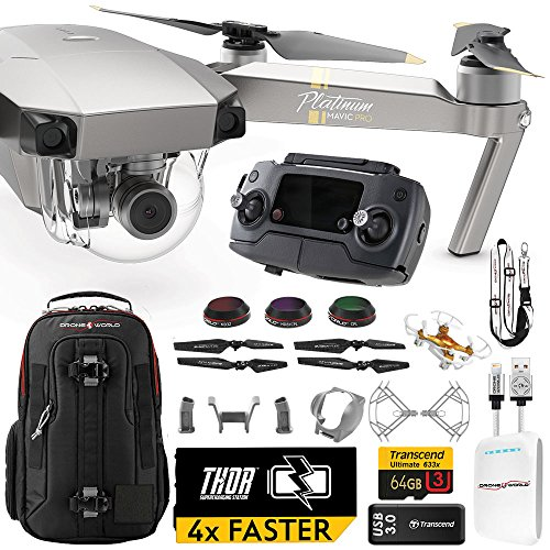 DJI Mavic PRO Platinum UPGRADE PLUS Kit w/ Backpack, Custom Bracket + Mount, Sunshade, Battery + Thor Charger, Lens Filters & More by Drone World