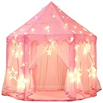 MonoBeach Princess Castle Play Tent Kids Play House with Star Lights Girls Pink Play Tents Toy for Indoor & Outdoor Games