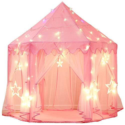 Castle Large (Wilwolfer Princess Tent Large Castle Playhouse for Children Indoor and Outdoor Games Hexagon Kids Play Tent with 17 Feet 50 Star Lights (Pink))