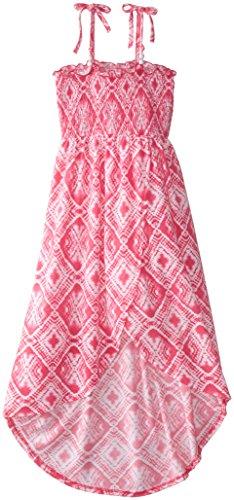 Derek Heart Big Girls' Smocked Tulip Hem Maxi Dress, Pink/Coral, Large