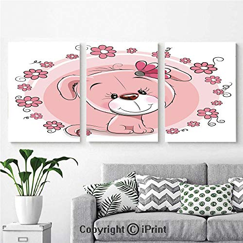 Canvas Prints Modern Art Framed Wall Mural Cute Little Puppy with Daisy Flowers Cheerful Adorable Pet Girls Room Decor for Home Decor 3 Panels,Wall Decorations for Living Room Bedroom Dining Room Ba