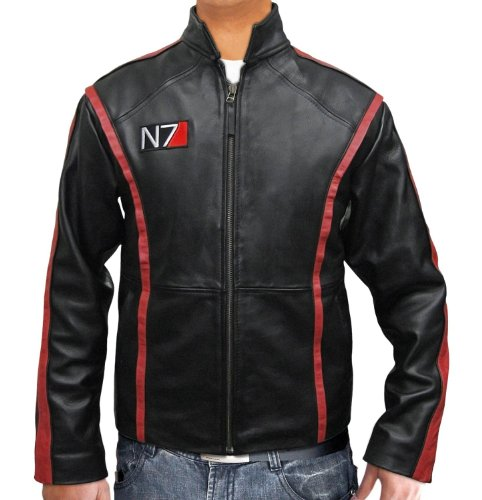Video Games Jacket Real Leather Outerwear - N7 Motorcycle Jacket Ideas (2XL) by BlingSoul