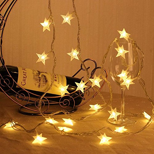 Battery Operated Warm White Christmas Star LED String Lights w/ Timer & Remote 100 LED Fairy String Lights for Outdoor Garden, Wedding Decoration White Star Lights