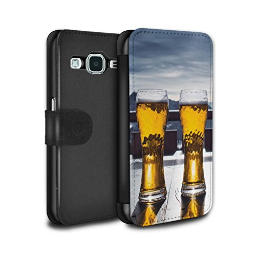 Skis Freeride Core (STUFF4 PU Leather Wallet Flip Case/Cover for Samsung Galaxy Core Prime / Ski Lodge/Beer Design / Skiing/Snowboarding Collection)