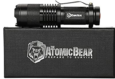 ATOMIC BEAR Tactical Flashlights - Small and Powerful Pocket Size LED Flashlight to Dominate the Darkness - Self Defense - Zoomable - Water Resistant Gear